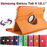 HTM ORANGE pour Samsung Galaxy Tab 4 10.1 pouces T530/T531/T535/T5310 avec 1 Stylet Offert- Housse Pochette Multi Angle ROTATIVE 360 - Nombreuses couleurs disponibles - Coque Etui en PU CUIR, rotation à 360°