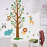 Animals Big Tree Stickers Wall Stickers (Removable, Waterproof, Green) for Living Room Bedroom Office Dormitory Background Decoration,Multicolour