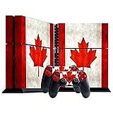 Stillshine PS4 Skin Aufkleber Sticker Folie schützende Haut Schale für Sony Playstation 4 Konsole und 2 Controller (Flags Canada)