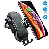 Hoidokly Cargador Inalámbrico Coche, 10W Qi Carga Rápida y Soporte Móvil Aplicable a Rejillas del Aire para iPhone X/XS/XR/8/8, Samsung s10/s10+/s9/s8 /s7/s6 Edge/Note 8 Cargador Wireless Qi Devices
