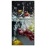 Glasuhr von DekoGlas 30x60cm waagerechte Bilderuhr aus Acryl-Glas mit lautlosem Quarzuhrwerk Dekouhr Glaswanduhr Uhr aus PMMA Wanduhren Küchenuhr Wanddekoration Glasbilder Obst Mehrfarbig