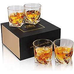 KANARS Verre à Whisky, Verres a Whiskey en Cristal, 300ml, Lot de 4 Pièces, Belle Boîte Cadeau