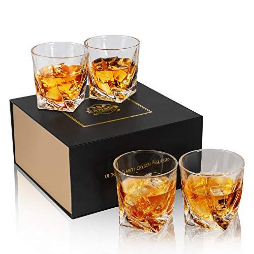 Kanars bicchieri whisky, bicchiere cocktail e whiskey cristallo, 300ml, set di 4 pezzi, bellissimo regalo