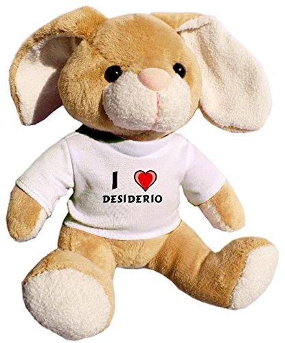 Preisvergleich Produktbild Plüsch Hase mit T-shirt mit Aufschrift Ich liebe Desiderio (Vorname/Zuname/Spitzname)