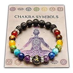 Idea Regalo - Wiccan Star Doppio 7 Chakra Bracciale Yoga Reiki. Energia Guarigione Equilibrio Bracciale Gioielli