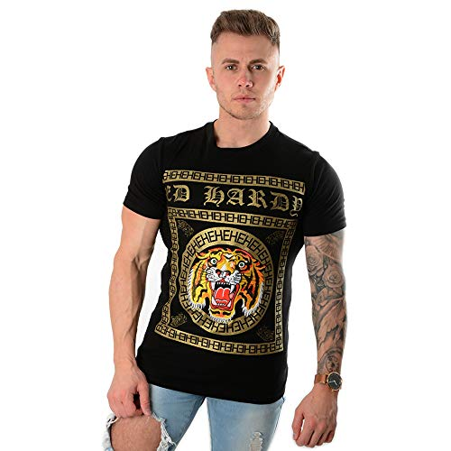 Ed Hardy | Tiger Tile Print Half Sleeve T-Shirt Medium Black - T-shirt Ed Hardy