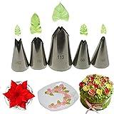 Gracelaza 5 Teiliges Spritztüllen Blumen Set - Ideal Edelstahl Tüllen Aufsätze und Deko Backset für Kuchen, Torte, Keksen Dekorieren
