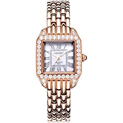 LONGBO Womens Fashion Roman Numral Crystal Rhinestone Accented Square Case Lady Dress Watch Rose Gold Bracelet Wrist Watches Girl Analog Quartz Full Stainless Steel Bangle Watches