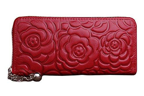 H&W Donna Pelle Vera Frizione Portafogli Con Fiore Modello Nero Rosso