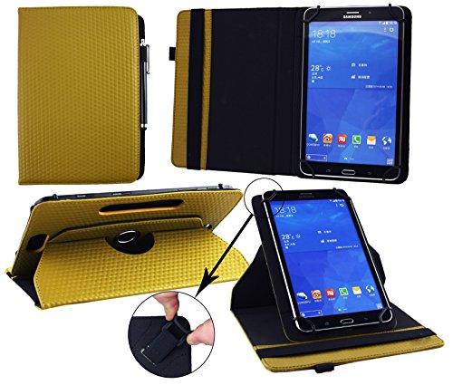 Emartbuy® Digiland DL701Q 7 Zoll Tablet PC Universal (7-8 Zoll) GepolsterteDesign Dark Senf 360GradRotierendeStandFolioGeldbörseTascheHülle + Schwarz Eingabestift (Tablet Tasche Dl701q Digiland)
