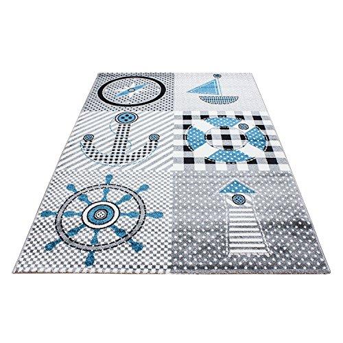 Teppiche für Kinderzimmer, Babyzimmer, Spielteppich Pirat Motiv kariert, Multi Farben Grau Blau Rot Grün Weiss_0510, Maße:120x170 cm ()