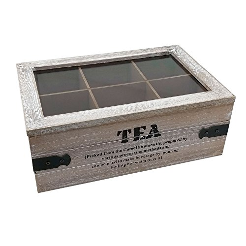 'ToCi–Caja para té 'Tea   Bote para té (en dos modelos  –Caja de té con 6y 9compartimentos   bolsas de té Caja de madera con tapa), diseño vintage