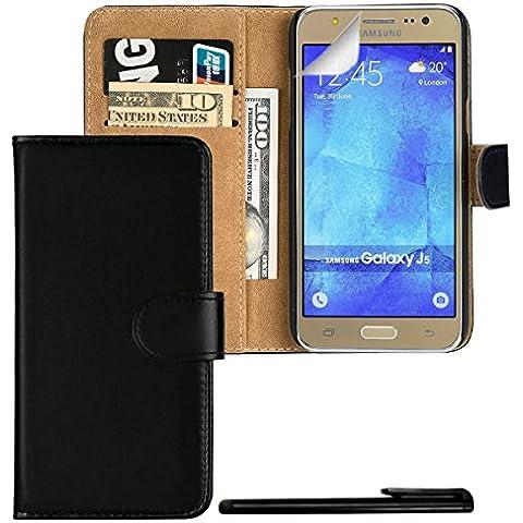 4in1 Billetera Funda para - Samsung Galaxy J5 (2015) - Carcasa con Cierre magnético y Función de Soporte, en NEGRO + 1x Protector de pantalla + 1x Lápiz capacitivo