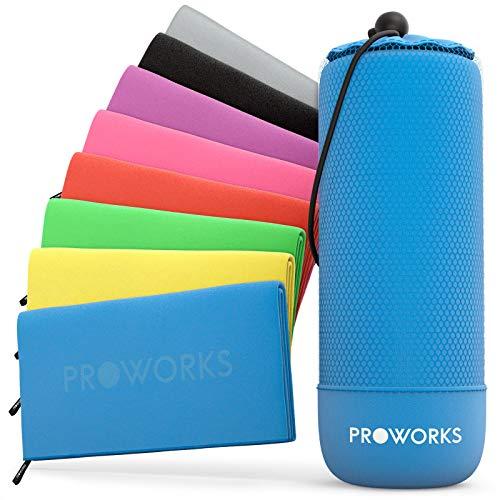 Proworks Mikrofaser Handtuch - Ultra Leicht & Weich - Microfaser Badetuch und Strandtuch für Sport, Strand, Reisen, Fitnessstudio und Sauna - Handtücher in 5 Farben inkl. Tasche - XL - Blau
