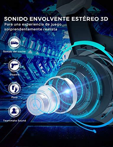 Mpow EG9 Auriculares Gaming PS4 RGB, Sonido Envolvente,  Auriculares con Micrófono,  Cancelación de Ruido,  Casco Gaming para PS4, PC, Xbox One, Nintendo Switch,  Wii,  iPad,  Móviles,  Casco Gamer Cable 2.2m