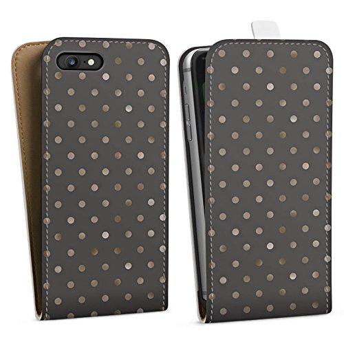 Apple iPhone 7 Plus Hülle Case Handyhülle Punkte Muster Silber Punkte Downflip Tasche weiß