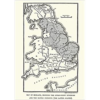 Map Of England 9th Century.Media Storehouse 10x8 Print Of Map Of Anglo Saxon Kingdoms And The