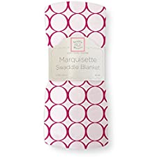 SwaddleDesigns Marquisette Swaddling Blanket, Pastel with Jewel Tone Mod Circles, Very Berry (japan import)