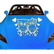 Autoaufkleber Eulen Herz Tattoo Gefühle Liebe Auto Sticker Aufkleber 1A267, Farbe:Schwarz glanz;Breite vom Motiv:40cm