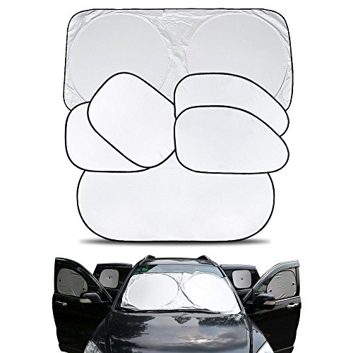 Price comparison product image Travelmall Car Windshield Sunshade Comes with Window Side Shades Made From High Quality Nylon Polyester Material Protect Car From the Sun's Heat and UV Radiation (black)