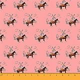 Soimoi Orange Viskose Chiffon Stoff Windmuhle & Pferd