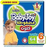 Babyjoy Cullote Pants Diaper, Jumbo Box Junior XXL Size 6, Count 64, 16 + KG