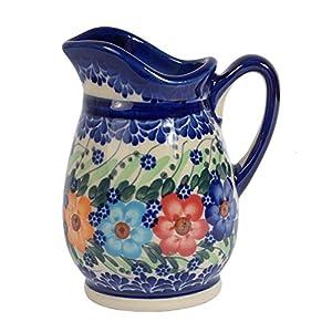 Traditional Polish Pottery, Handcrafted Ceramic Cream or Milk Jug 300ml, Boleslawiec Style Pattern, J.202.Garland
