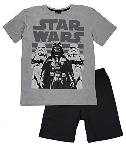 Herren Star Wars Shortama kurze PJ Pyjama Set T-Shirt und Shorts (Grau, M) (Pj Baumwolle Shorts)