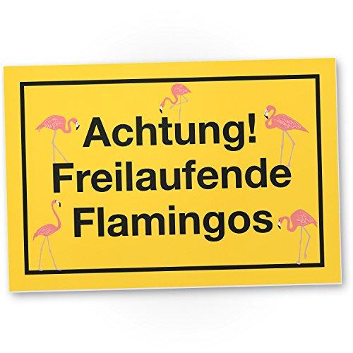 DankeDir! Achtung Freilaufende Flamingos, Kunststoff Schild mit Spruch, Wanddeko/Party Deko/Dekoration Wohnung - süße Geschenkidee Geburtstagsgeschenk - Geschenk ()