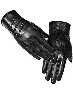 DIDIDD Guantes cálidos hebilla de bordado de damas Monochrome Driving Cycling Essential,Negro,Un tamaño