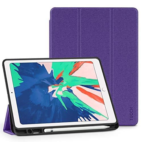 TUCCH iPad Air 3 Case TPU 10,5 Zoll Hülle Stifthalter, Ultra Weiche Leichte Dünne Schutzhülle Smart Cover Ständer [Ruhe/Aufwachfunktion] Stoßfeste Klapphülle Kompatibel für iPad Air 3, Lebendiges Lila (Ipad 3 Cover Lila)