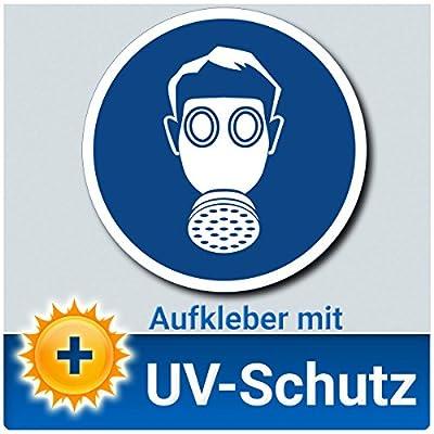 Atemschutz benutzen Aufkleber Schild, Gebotszeichen nach DIN 4844-2, Material mit UV-Schutz, Atemmaske / Schutzmaske / Mundschutz tragen