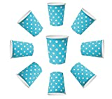 BlueBD 100X vasos 230ml Dots Azul, vasos de papel, vasos desechables para bebidas aperitivos Bebidas Calientes y Frías (Azul)