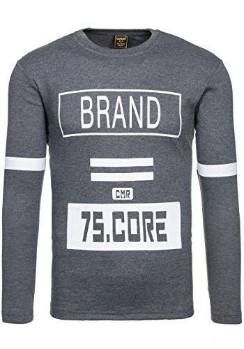 BOLF Herren Longsleeve Langarmshirt Sweatshirt Poloshirt T-Shirt Mix 1A1 Motiv Anthrazit_4246