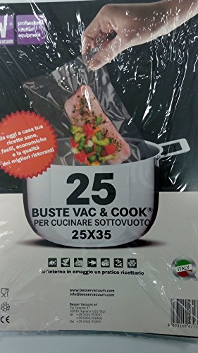 Buste Sacchetti Vac & Cook per Cucinare Sottovuoto 25 x 35 + RICETTARIO, Made In Italy Besser Vacuum