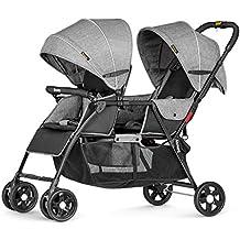 Besrey Geschwisterwagen Zwillingswagen Sportwagen für 2 Kinder - mit Liegefunktion und Sonnenverdeck - mehrfunktional - zusammenklappbar