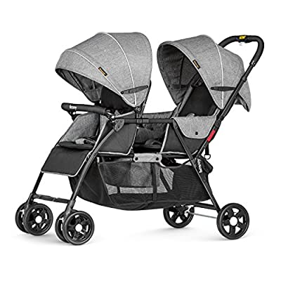 Besrey Double Strollers Baby Pram Tandem Buggy Newborn Pushchair with Adjustable Backrest & Footrest - Grey