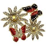 Acosta doré-Email-&Motif Broche Papillon Cristal-Cadeau de fête des mères