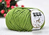Liliya& Garn 100% Bio-Baumwolle, Mehrfarbig (50g * 10) für Strickpullover, Strickjacken, Kleidung, Decken usw, Army Green