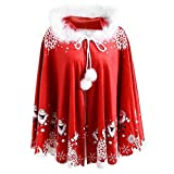 Auiyut Damen Weihnachten Umhang Santa Cape Herren Cape Mantel Familie Kleidung mit Plüsch Kragen Kapuze Weihnachtskostüm Outfit Mantel Party Cosplay für Mutter Kurzer Mantel