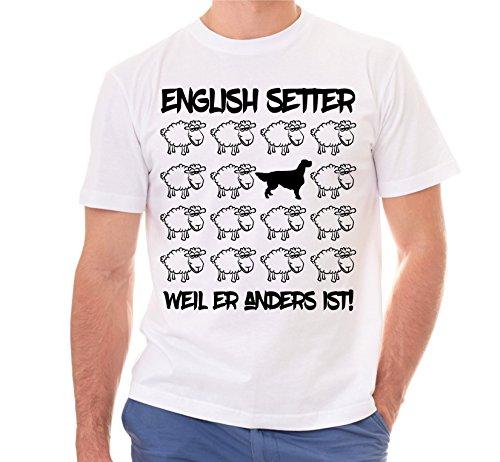 Siviwonder Unisex T-Shirt BLACK SHEEP - ENGLISH SETTER Jagd Jäger - Hunde Fun Schaf Weiß