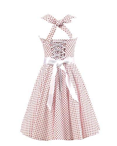 MISSMAO Damen 50s Vintage Tupfen Retro Rockabilly Kleid Neckholder Cocktailkleider Partykleider Weiß Kleiner roter Punkt