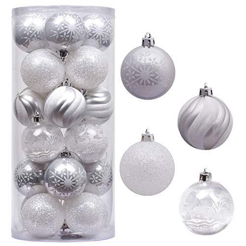 Victor's workshop palline di natale 24 pezzi 6cm albero di natale palle dell'albero di natale ornamenti infrangibile ornamento di plastica argento bianco multiple imballaggio