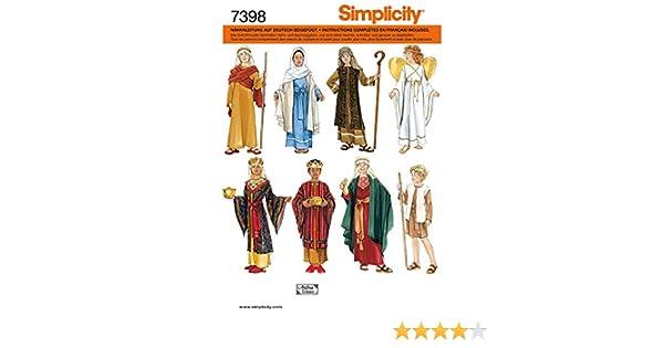 Simplicity Schnittmuster 7398 A Kinder Kostüm Krippenspiel Gr. S - M ...