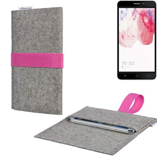 Handy Tasche AVEIRO mit Filz-Deckel und Gummiband-Verschluss für Hisense F20 Dual-SIM - Sleeve Case Etui Filz Made in Germany hellgrau rosa - passgenaue Handyhülle für Hisense F20 Dual-SIM