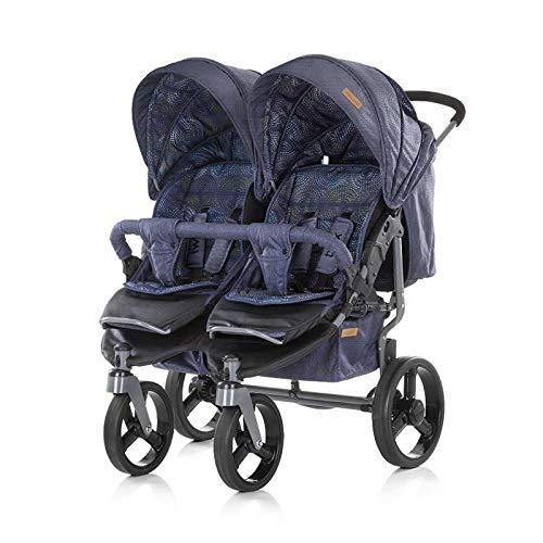 Chipolino Geschwisterkinderwagen Twix, zusammenklappbar, Sonnendach, ab Geburt (Jeans blau)