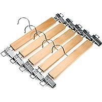 J.S. Hanger Perchas de madera natural muy resistente para faldas y pantalones, con pinzas anticorrosivas, color claro (5 unidades)
