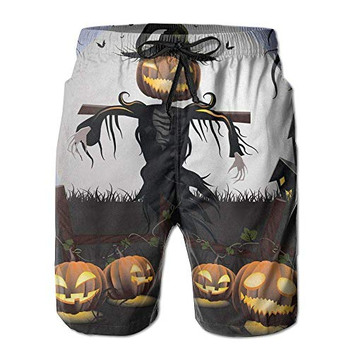 WITHY Mens Beach Shorts, Halloween Scarecrow Miami Cute Shorts for Men Boys, Outdoor Short Pants Beach Accessories,(XXL)