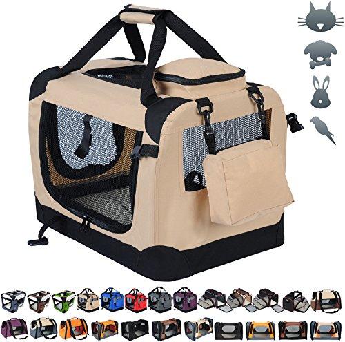 WOLTU HT2025be-a Hundetransportbox Hundebox Auto faltbare Transportbox Reisebox Katzenbox mit Hundedecke 49,5x34,5x35cm, Beige