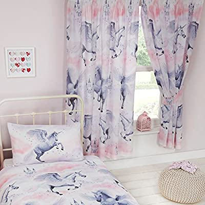 Stardust Unicorn Lined Curtains Size: 66in wide x 72in drop